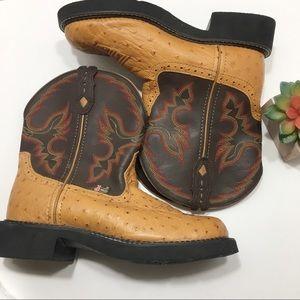 Justin Gypsy Brown/Tan Ostrich Cowboy Boots